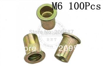 100pcs/lot Metric Steel Flat Head M6 Blind Insert Rivet Nut Rivnut Free Shipping