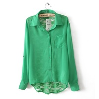 2013 spring lace cutout crochet patchwork chiffon shirt long-sleeve shirt women's candy