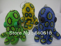Free Shipping 3Pcs/Lot Blue-ringed Octopus Doll Cell Phone Bag Pendant Keychain Cartoon Plush Stuffed Toy Promotion Gifts