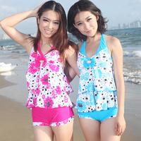 free shipping 2013 female swimwear large small push up plus size hot spring swimsuit split