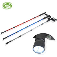 Retail aluminum four shock absorbers T handle with light curved handle cane walking stick walking sticks rubber handle cane