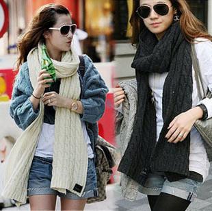 Hot Sale!! New Stylish Women's Ladies Fashion Wool Knitted Long Scarf Winter Warm Shawl 182*32cm, 2Colors, Free Shipping(China (Mainland))