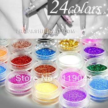 Free shipping 24 Colors Acrylic Nail Powder Mix Glitter Powder Dust Nail Art Decoration NA144