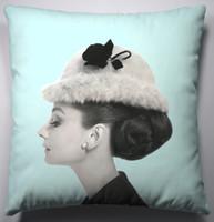 Modern Luxury Tiffany Blue Audrey Hepburn Hat Pop Star Art Decorative Fashion Pillow Case Cushion Cover Sham 45cm x 45cm