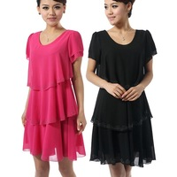 2013 plus size clothing summer mm one-piece dress slim chiffon one-piece dress short-sleeve female