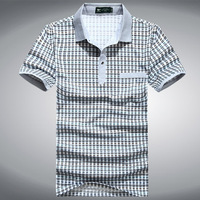 Septwolves turn-down collar 100% male short-sleeve cotton t-shirt commercial plaid men's mercerized cotton t 2013