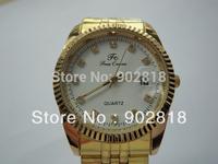 Luxury Men Women Lovers Ladies Middle Golden Quartz  Wrist Watch Clock Hours B48A