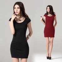 2013 women's one piece dress summer o-neck slim all-match fashion basic skirt