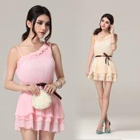 2013 women's summer elegant one shoulder one piece dress slim chiffon suspender skirt