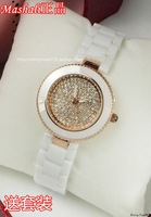 Fashion white rhinestone full ceramic rose gold elegant vintage women's watch