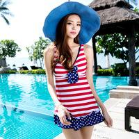 free shipping Swimwear small push up one-piece dress women's plus size stripe swimwear 1307