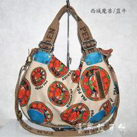 2013 female vintage one shoulder cross-body handbag large bag canvas bag