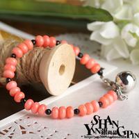 Handmade candy sweet pink coral bell bracelet bracelets Women