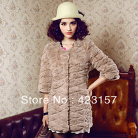 2013 Women's fur coat Fashion 100% Genuine Rex Rabbit Fur Coat ,Lady's fur coat wholesale