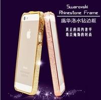 New luxury lady exclusive Fashion shiny  Swarovski diamond bumper case for iphone 4 4S cover