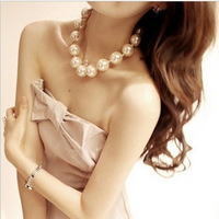 Noble big pearl necklace short design evening dress female accessories