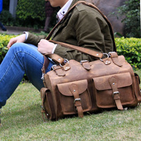 Reminisced 2013 vintage handmade bare-headed genuine leather handbag cross-body male travel backpack