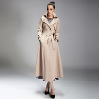 2014 spring and autumn women outerwear fashion turn-down collar khaki double breasted casual long design long-sleeve trench fa-3