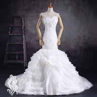 Premier Wedding 2014 Actual Pictures Luxury One Shoulder Ruched  Criss-cross Corded Lace Ruffles Mermaid Bridal Dresses
