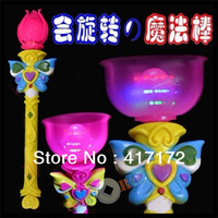 8p/lot! LED Flash Magic stick/Glow stick/Luminous lotus rods/Background music/Rotation windmill for Party/Halloween Children toy