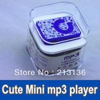 200pcs Cute Mini Clip Mp3 player card mp3 player with TF Slot MP3+USB+Earphone+Box blue