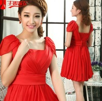 new red women lady evening party prom mini dress short design knee length S M L XL XXL free shipping