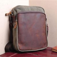 2014 New Small Canvas Bolsos Genuine Leather Crossbody Men Vintage Shoulder Messenger Cross Body Bag For Masculina Bolsa T117
