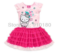 Free Shipping 5pcs/lot Newest Design Branded Baby Girl Hello Kitty cute cake dress kids Birthday tutu dresses