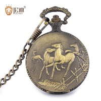 Leondi vintage pocket watch student necklace table male quartz cell