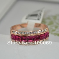 Red/Blue Crystal Ring 18K Gold Plated Made with Genuine Austrian Crystals Full Sizes Wholesale R3341