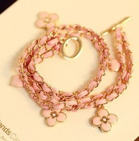 free shipping vintage four leaf clover drop few layer bracelet