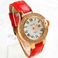 Roman numerals diamond beauty leather band woman quartz watch,wholesale women waches A155952,2013 new fashion hot selling