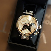 Free shipping for Personalized hourglass rhinestone women's watch five-pointed star large dial crystal fashion lady