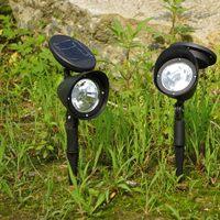 3led solar light plastic lamp solar lawn light garden lights garden lights black