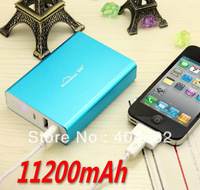 Free shipping 11200mAh Mobile Power portable charger External Battery for iphone 4s 4 ipad, samsung galaxy S3