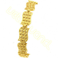 Free Shipping New Arrival 10mm 18.5cm Men's Women's 18K Real Gold Filled Bracelet Exquisite Hollow Chain HL119