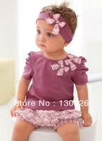 70% OFF baby suits Purple baby girl 3-piece set: bowknot headband + shirt + floral printed shorts/ baby set design
