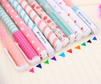 Wholesale Lovely Strip/Floral/Dots/Heart Multi Design 10 colors Gel Pen set 50pcs/lot different colors