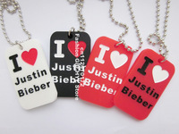 "I love Justin Bieber Dog Tag Necklace with 24"" ball chain, Pendant necklace, MOQ: 1PC"