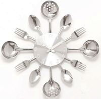 [listed in stock]-New Modern Design Home Kitchen Decoration Art Fork & Spoon Silver Wall Clock DIY Wall Clock