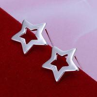 Wholesale Sterling Silver 925 Jewelry 925 Sterling Silver Five-points Star Silver Earrings Hoops Drop Hooks Earrings E107