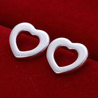 Lose money promotion ! Hot sale popular silver hollow heart Shape stud earrings,high quality,Wholesale fashion jewelry E109