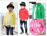 Free shipping (5pieces/lot)children shirt boy girls candy color cotton long sleeve shirt candy color cotton long sleeve shirt