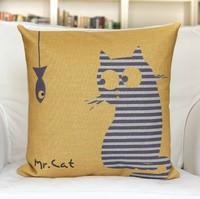 Cute Mr Cat Linen Cotton Decorative Cushion Covers Monopoly 1pcs 45 *45cm Wholesale Free Shipping