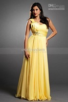 New Style Yellow One Shoulder A Line Floor Length Chiffon Plus Size Evening Dresses Party Prom Gowns Cheap Custom Made Hot Sale