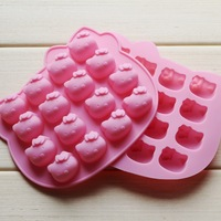 free shipping factory wholesale hello kitty shape Muffin case Candy Jelly Ice cake Silicone Mould Mold Baking Pan Tray