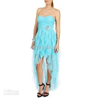 New Light Sky Blue Sweetheart Ruffles A Line Short Front Long Back Chiffon Homecoming Dresses Graduation Prom Gowns Hot Custom M