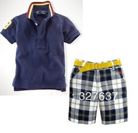 polo boy 's campaign T shirt + Knickers Kids Set Boy Clothes Set Children Suit Baby Wear Free shipping
