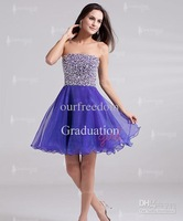 New Simple Youthful Purple Strapless Beads A Line Short Organza Homecoming Dresses Party Prom Gowns Cheap Custom Made 2013