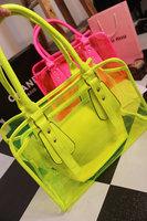 Perspectivity neon jelly handbag shoulder bag transparent bag picture waterproof beach bag female